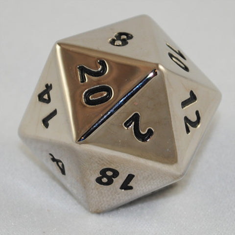 Giant Metal Chrome Steel 34mm 20 Sided Dice
