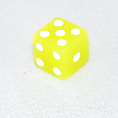 Glow in the Dark Lemon Colored 6 Sided Dice