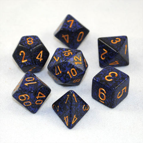 Set of 7 Speckled Golden Cobalt Dice