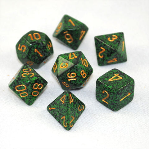 Set of 7 Speckled Golden Recon Dice
