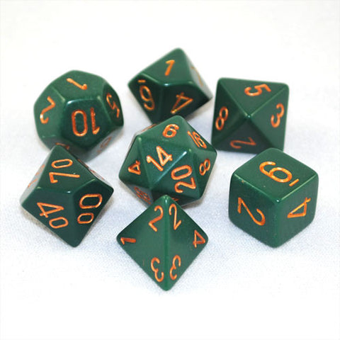 Chessex Opaque Polyhedral Dusty Green/gold 7-Die Set