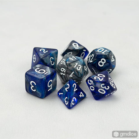 Silver-Blue Alloy RPG Dice Set