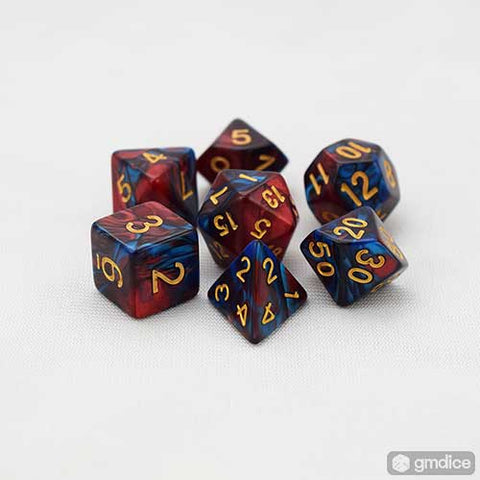 Red-Blue Swirl RPG Dice Set