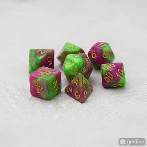 Green-Rose Red Swirl RPG Dice Set