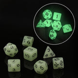 Glow-in-the-Dark White RPG Dice Set
