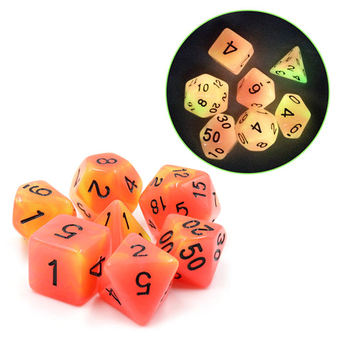 Glow-in-the-Dark Orange-Yellow RPG Dice Set