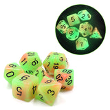 Glow-in-the-Dark Orange-Green RPG Dice Set