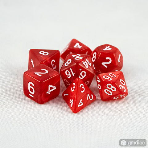Red Pearl RPG Dice Set
