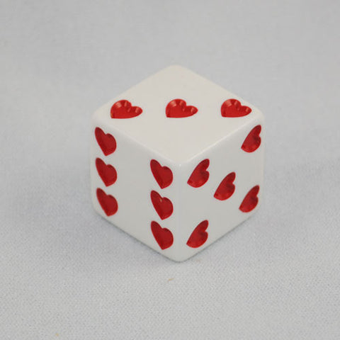 White Sweetheart Dice With Red Hearts