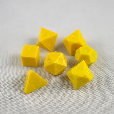 Set of 7 Gamescience Opaque Yellow Precision Dice