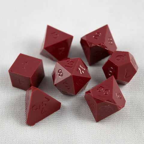 Set of 7 Gamescience Opaque Garnet Red Precision Dice