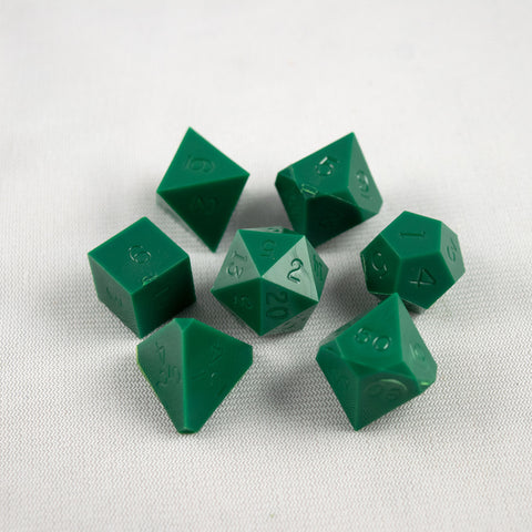 Set of 7 Gamescience Opaque Green Precision Dice