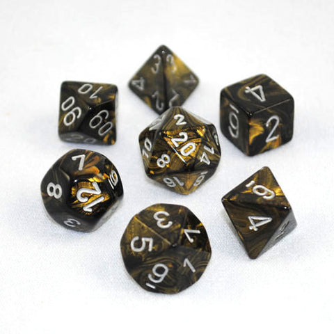 Set of 7 Chessex Leaf Black Gold/silver RPG Dice