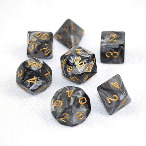 Set of 7 Chessex Lustrous Black/gold RPG Dice