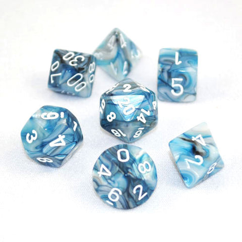Set of 7 Chessex Lustrous Slate/White RPG Dice