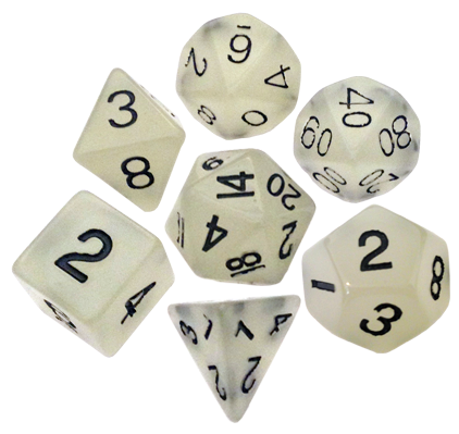 16mm Clear Glow in the Dark Resin Dice Set