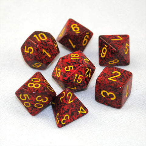Set of 7 Speckled Mercury Dice