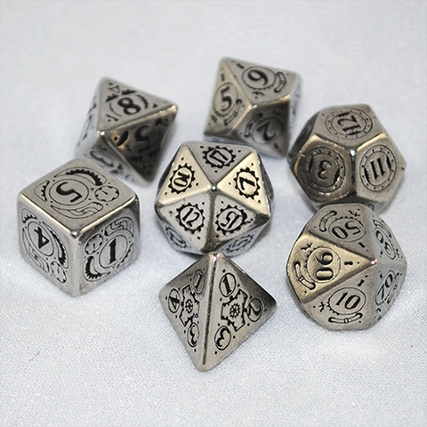 Metal Steampunk Dice (Set of 7)