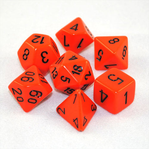Chessex Opaque Polyhedral Orange/black 7-Die Set