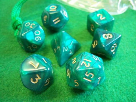 Set of 7 Pearled Green Dice