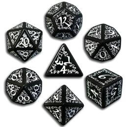 Black & White Elvish Dice (Set of 7)