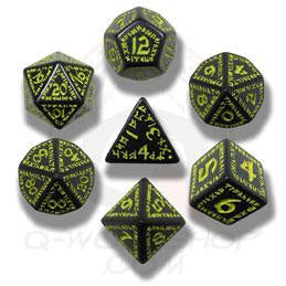 Set of Black and Yellow Rune Dice