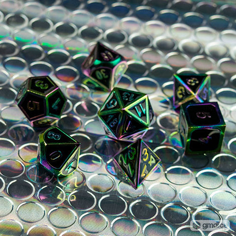 Rainbow Metal Dice Set with Black Enamel