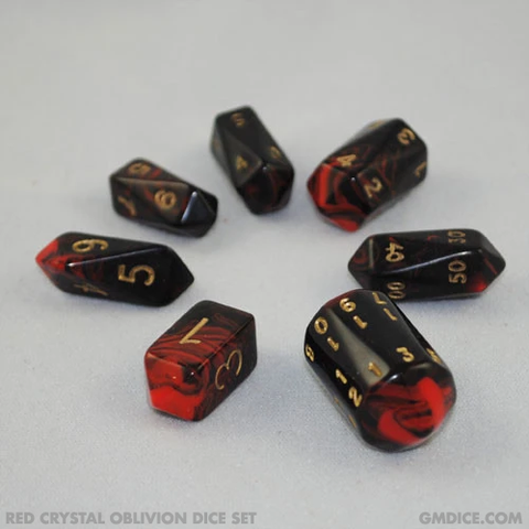 Red crystal oblivion DnD dice