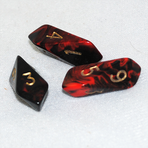 red crystal dice for Dungeons & Dragons