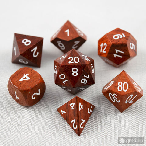 Red Sandalwood Wooden Dice Set