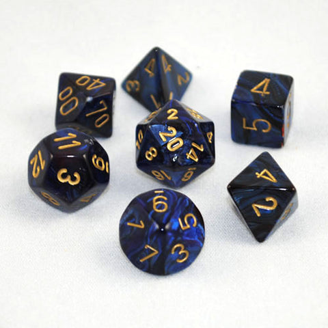 Set of 7 Chessex Scarab Royal Blue/gold RPG Dice