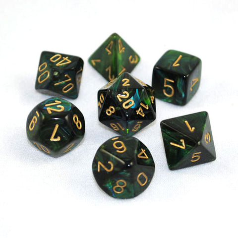 Set of 7 Chessex Scarab Jade/gold RPG Dice