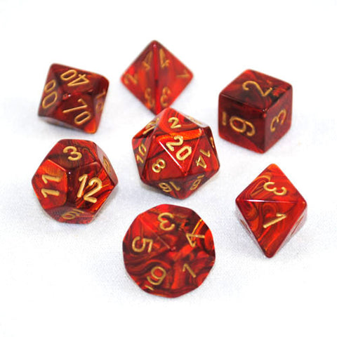 Set of 7 Chessex Scarab Scarlet/gold RPG Dice
