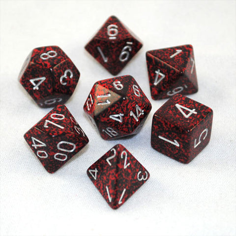 Set of 7 Speckled Silver Volcano Dice