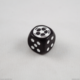 Single black soccer die