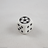 Single white soccer die