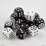 A pile of black and white soccer dice
