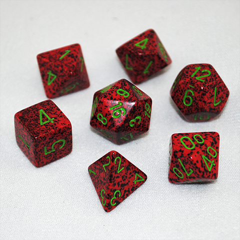Set of 7 Speckled Strawberry Dice