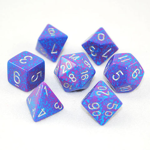 Set of 7 Speckled Silver Tetra Dice