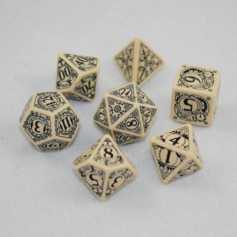 Beige & Black Steampunk Dice Set