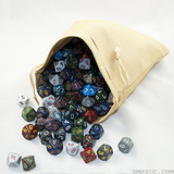A leather dice bag full of dice.