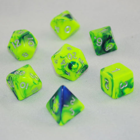 Toxic Green/Blue Polyhedral Dice Set