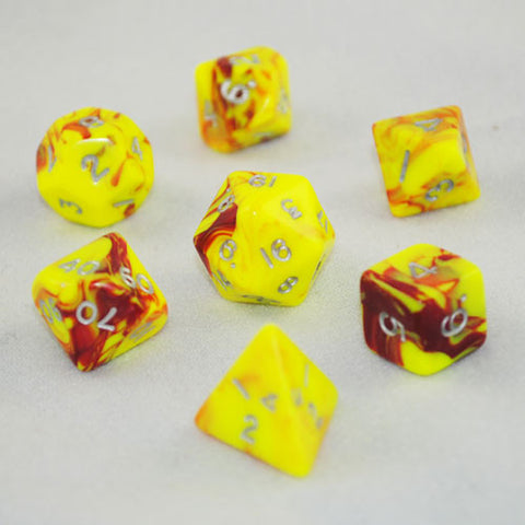 Toxic Red/Yellow Polyhedral Dice Set