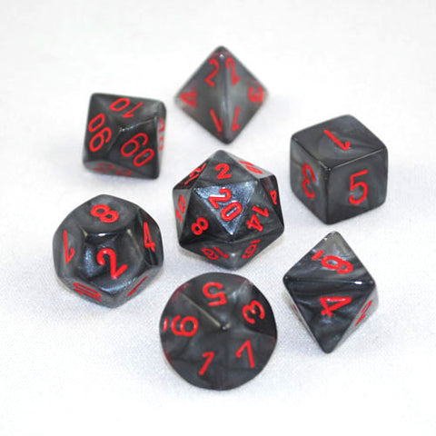 Set of 7 Chessex Velvet Black/red RPG Dice