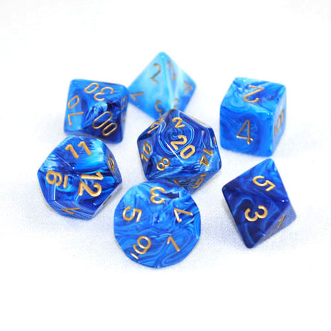 Set of 7 Chessex Vortex Blue/gold RPG Dice