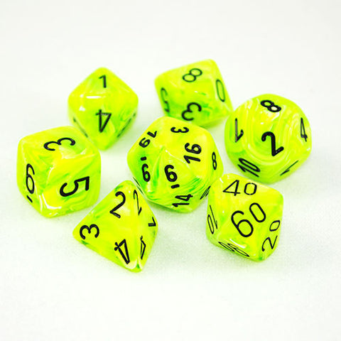 Set of 7 Chessex Vortex Bright Green/black RPG Dice