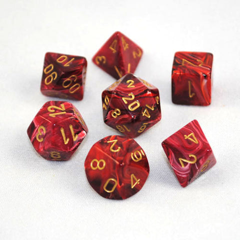 Set of 7 Chessex Vortex Burgundy/gold RPG Dice