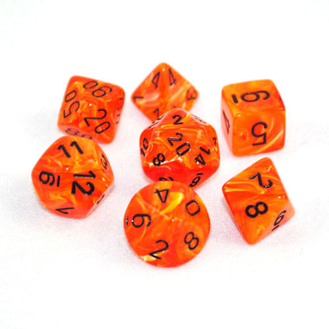 Set of 7 Chessex Vortex Orange/black RPG Dice