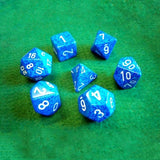 Set of 7 Speckled Water Dice