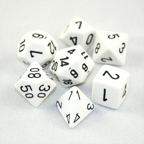 Chessex Opaque Polyhedral White/black 7-Die Set